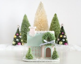 Putz House Christmas Ornament Vintage Style Glitter House Christmas Decoration Victorian