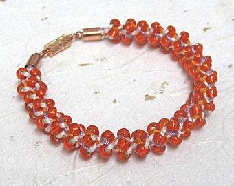 Kumihimo beaded bracelet orange bracelet woven bracelet
