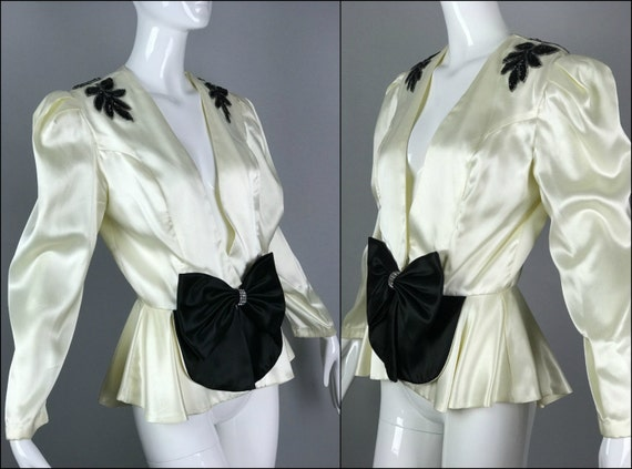ViNtAgE 80s does 30s Satin Bow Jacket Sequin Rhinestone 40s Glam Peplum Smoking Blazer Coat opera Evening Glam Gatsby White Black Deco