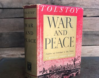 """Vintage """"War & Peace"""" by Leo Tolstoy 1938 - Classic Novel - Classic Literature - Russian Novel"""
