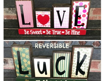 Valentine's St Patrick's day REVERSIBLE holiday blocks-Love Be's reverses with Luck of the Irish