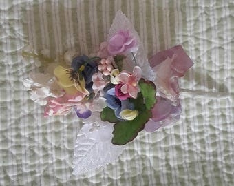 mini cloth flower BOUQUET vintage millinery 12 stems dyed ribbon nosegay