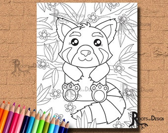 INSTANT DOWNLOAD Cute Red Panda Page Print, doodle art, printable Valentine Page
