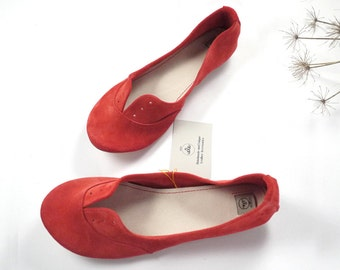 Red Soft Suede Handmade Leather Oxfords Shoes