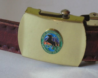 Camporee slim tooled vintage sienna leather crested slide gold tone buckle L dated