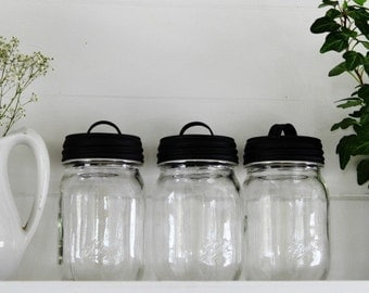 Farmhouse Kitchen Mason Jar Lids with Handles - Farmhouse Style Kitchen Decor