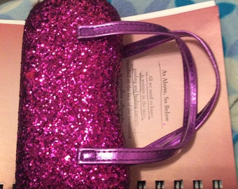Glitter eye glass case hardshell suede lining no flaws leather straps fuchsia