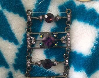 Rhinestone necklace beaded purple crystal 80s