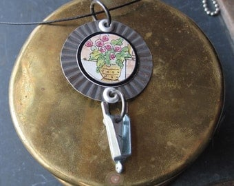 Gardener's Pendant, Tin Flowers and Wheel Barrow Pendant, Pink Flowers Necklace