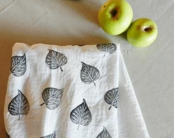 Leaf Print Extra Large Flour Sack Dishcloth. Hand Printed Dish Towel. Modern Farmhouse. Hostess Gift. Kitchen Towels. Boho Home. Nature