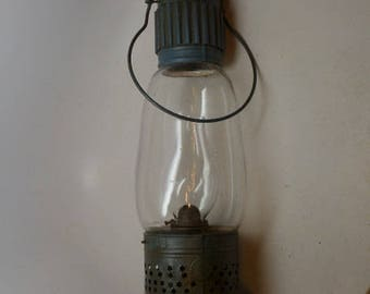 Antique Punched Tin Oil Lamp - Whale Oil Lamp - J. D. Brown Patent Lamp