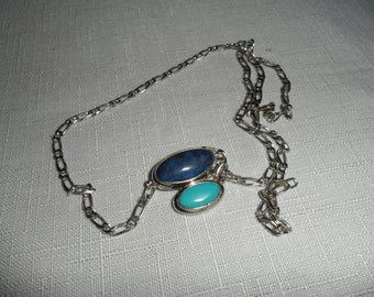 Vintage Sterling Silver Gemstone Pendant and Neck Chain