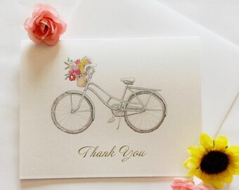 Bicycle Thank You Card Watercolor Painting Flowers. Watercolor Stationary.