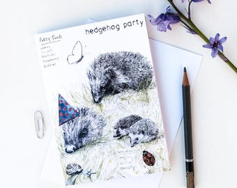 Hedgehog Party birthday card