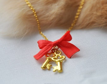 Keys to your heart, red - SD recommended golden necklace