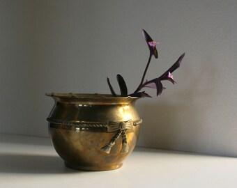 Vintage Brass Planter, Bowl, Vase