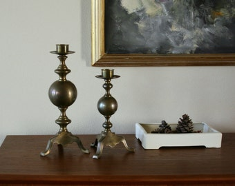 Vintage Brass Candle Holders, Large, Pair