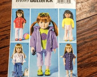 "Butterick Sewing Pattern B4089, 18"" Doll Clothes Pattern, Fits American Girls Sewing Pattern"