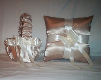 Champagne Satin With Ivory Cream Ribbon Trim Flower Girl Basket And Ring Bearer Pillow