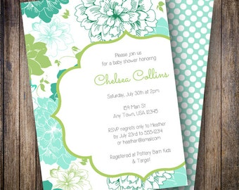 Floral Baby Shower Invitation, Floral Baby Shower Invite, Printable Baby Shower Invitation - Garden Blooms in Green and Teal Shades