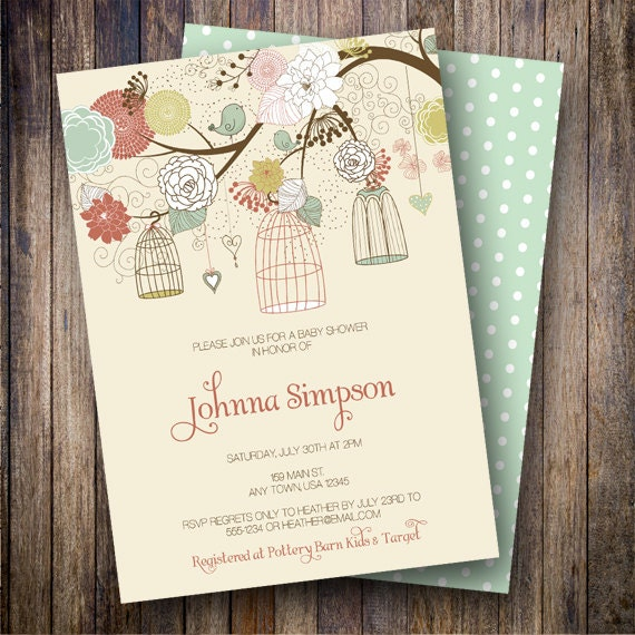 Vintage Birdcages Baby Shower Invitation, Vintage Birdcages Baby Shower Invite, Printable Floral Baby Shower Invite in Rust, Teal, Yellow
