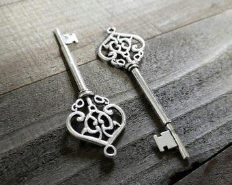 Bulk Skeleton Keys Silver Key Pendants Large Keys Silver Keys Wholesale Keys Skeleton Key Pendants Steampunk Keys 100 pieces 70mm