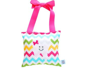 Tooth Fairy Pillow Girls Tooth Fairy Gift Personalized Tooth Fairy Pillow Personalized Kids Tooth Fairy Pouch in Pink Chevron