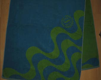 Sheraton Hotel Beach Towel - Vintage 1970's Blue Green Neon Vacation Pool Lounge