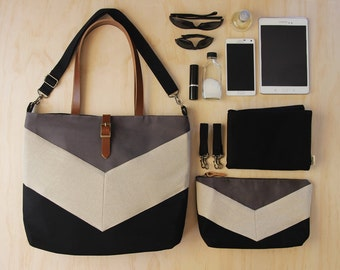 LARGE oatmeal linen chevron, black/gray diaper bag set. diaper bag, nappy pouch, change mat & detachable clips. Waterproof lining available