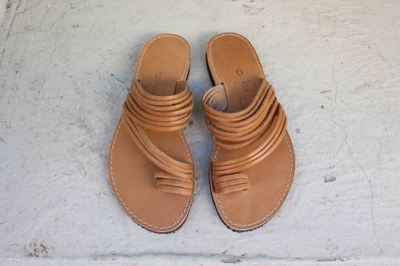 Leather sandals, Leather Sandals toe  Greek sandals, strappy sandals,  Leather slides sandales grecques size  38 US 8-8.5
