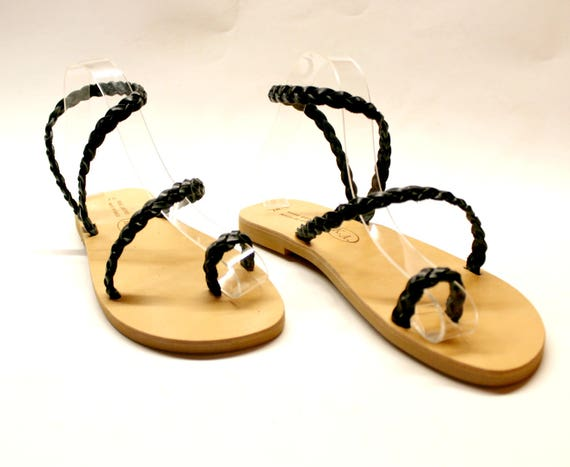 Womens Leather sandals Black sandals  greek sandals  SALE! U.S. 6-6.5 /E.U.37