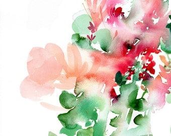 Floral Watercolor Print. Pink Nursery Decor. Nursery Wall Art Girl. Print Watercolor Flowers. Nursery Floral Art. Floral Print Pink Decor.