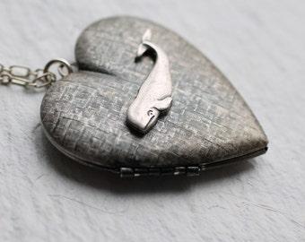 Whale Locket ... Silver Vintage Pendant Blue Whale