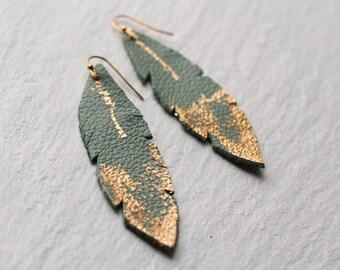 Feather Earrings ... Turquoise Sage Gold Boho Earrings