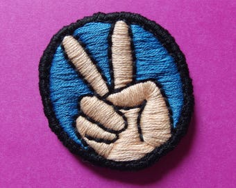 "Peace hand sign handmade embroidered patch 2"" diameter"