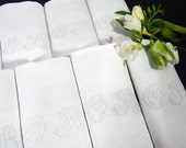 12 French Damask Napkins Vintage Hand Embroidered