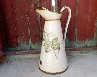 French Vintage Enamelware Pitcher in Cream with Flowers