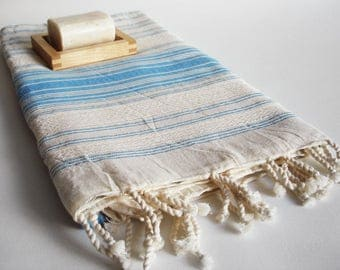 SALE 50 OFF/ BathStyle / Blue-Natural / Classic Style Turkish Beach Bath Towel / Wedding Gift, Spa, Swim, Pool Towels and Pareo
