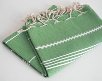 SALE 50 OF / Turkish Beach Bath Towel / Classic Peshtemal / Green / Wedding Gift, Spa, Swim, Pool Towels and Pareo