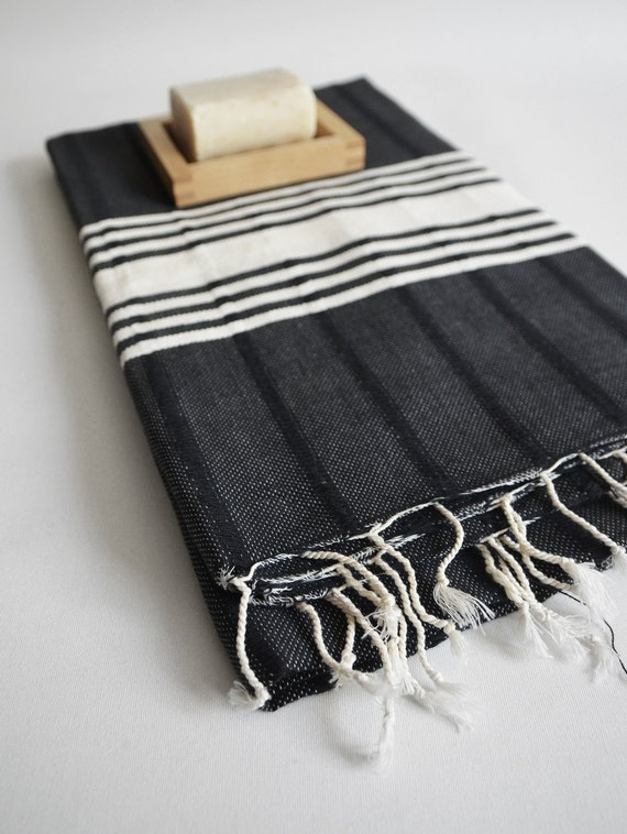 SALE 50 OFF/ BathStyle / Black-White / Turkish Beach Bath Towel Peshtemal / Bath, Beach, Spa, Swim, Pool Towels