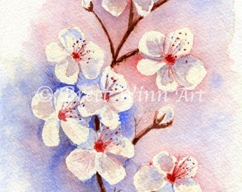 Cherry Blossoms Print, Printable Art, Cherry Blossons Art, Home Decor, Watercolor, Wall decor, Instant Download