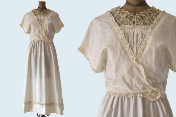 Edwardian White Silk Dress size S
