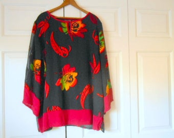 Vintage black over sized Burnout tunic Top