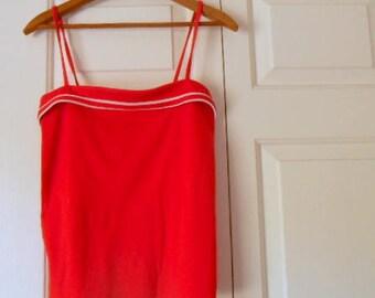 Vintage 70's retro red spaghetti strap Tank Top