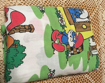 Vintage Smurf fitted Twin Sheet - Made in USA - by Wallace Berry & Co - Very Nice