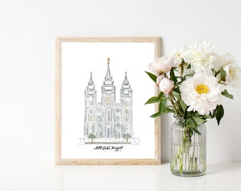 Salt Lake City Temple Watercolor LDS Temple Print