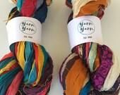Sari Silk Ribbon, eye popping colour, ethical yarn, ribbon yarn, craft ribbon, knitting ribbon, crochet, fiber art 10 yards.