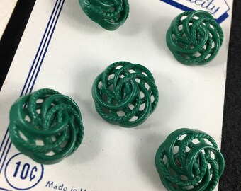 vintage green plastic button card