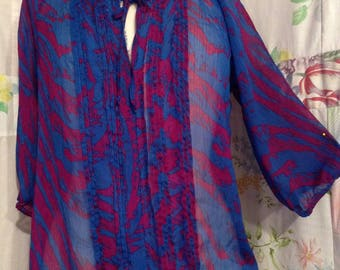 MEDIUM Top Bohemian Indie Flowerchild Boho Blue Red Sheer Blouse