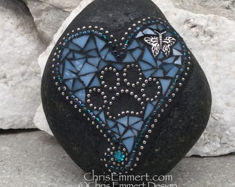 Blue Mosaic Heart, Black Paw Print - Garden Stone, Pet Memorial